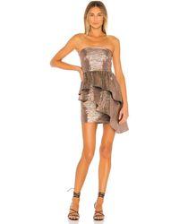 Lovers + Friends Платье Albright В Цвете Striped Metallic - Metallic Copper. Размер S (также В Xs). - Многоцветный