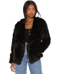 BB Dakota Shag Race Faux Fur Jacket - Black