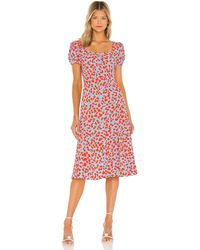 Diane von Furstenberg Платье Миди Elena В Цвете Summer Leopard Medium Sky Blue - Синий