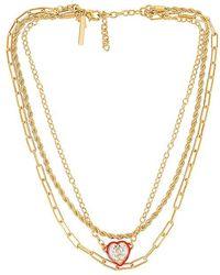 Lele Sadoughi Swarovski Crystal Heart Necklace - Metallic