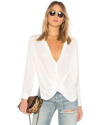 Krisa Surplice Button Blouse - White