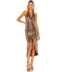 Camila Coelho Платье Миди Melany В Цвете Bronze Lame - Metallic Bronze. Размер S (также В Xs,xxs). - Многоцветный