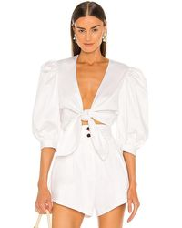 Adriana Degreas Puff Sleeve Cropped Blouse - White