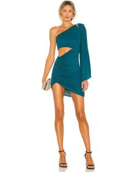 Michael Costello Платье Alessia В Цвете Сине-зеленый Зеленый