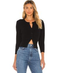 FRAME Mini Rib Cardigan - Black