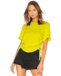 Kendall + Kylie - Ruched Tie Side Tee - Lyst