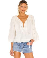Free People Sun Valley Emb Top - White