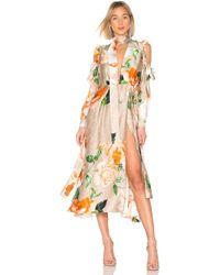 Off-White c/o Virgil Abloh Vestido floral volant - Naranja