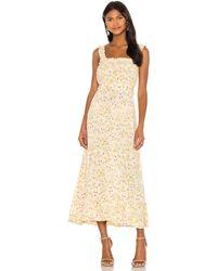 Faithfull The Brand Платье Миди Saint Tropez В Цвете Adele Floral - Желтый