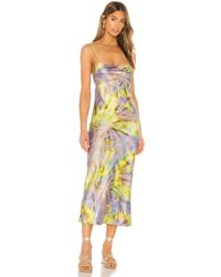 Flynn Skye Платье Миди Jackie В Цвете Spiral Mist - Желтый