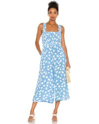 Faithfull The Brand Dolores Floral-print Jumpsuit - Blue