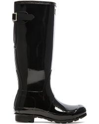 HUNTER - Original Back Adjustable Gloss Rain Boot - Lyst