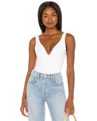 Maaji Delight Henley Ribbed Bodysuit - White