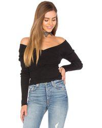 9f46c95d33 525 America - Rib Double V Criss Cross Sweater In Black - Lyst