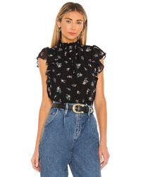 1.STATE Flutter Sleeve Smocked Neck Top - Black