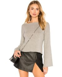 BCBGeneration - Ribbed Cross Back Crop Jumper In Light Heather Grey In Grey - Lyst