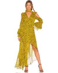 Diane von Furstenberg Robe Ruffle High Low - Jaune