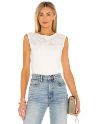 MILLY Floral Mesh Top - Weiß