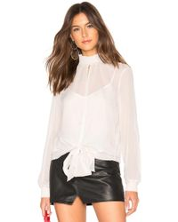 1.STATE - Long Sleeve Smocked Neck Sheer Check Blouse In White - Lyst
