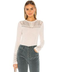 Free People Colette Pointelle Detail Jumper - White