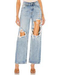 Free People Thrift Store Straight Leg Jean - Blue