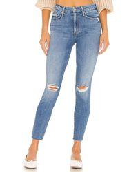 Mother Jeans The Looker mit ausgefransten Beinabschlüssen - Blau