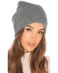 White + Warren Cashmere Plush Rib Beanie - Gray