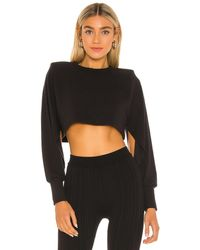 Michael Costello X Revolve Long Sleeve Cropped Ribbed Top - Black