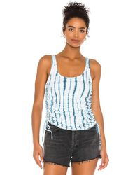 Chaser Shirred Sides Double Scoop Tank - Blau
