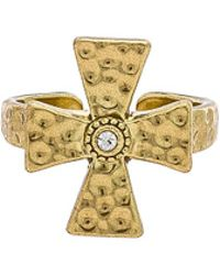 Luv Aj - The Hammered Cross Signet Ring In Metallic Gold. - Lyst