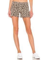 Monrow Leopard elastic waist shorts - Marrón