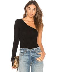 Only Hearts - Wide Wale Rib One Shoulder Bodysuit In Black - Lyst