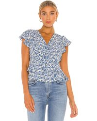1.STATE Flutter Sleeve Button Front Blouse - Blue