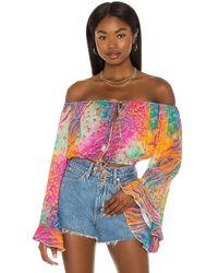 Luli Fama Off The Shoulder Ruffle Crop Top - Multicolour