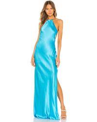 Michael Lo Sordo Maxi-Kleid mit Nackenband - Blau