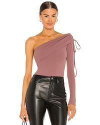Nbd One Shoulder Drawstring Bodysuit - Lila