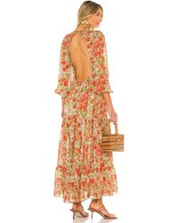 MISA Los Angles Платье Anahita В Цвете Valencia Floral - Оранжевый