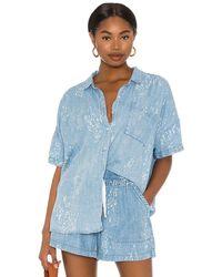 Splendid Wildflower Short Sleeve Shirt - Blue