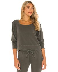 Chaser Cotton Fleece Cropped Batwing Raglan Pullover - Multicolour