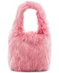 Charlotte Simone Lil Pop Faux Fur Tote In Pink.