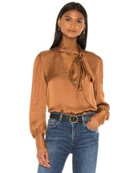 7 For All Mankind Tie Neck One Sleeve Top ブラウス - ブラウン