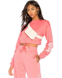 Les Girls, Les Boys - Loopback Cropped Sweatshirt In Pink - Lyst