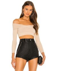 Michael Costello Knit ribbed off shoulder top - Negro