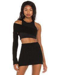 Danielle Guizio Rib knit shrug off shoulder top - Negro