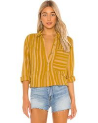 Free People Summer Breeze Stripe Button Down - Yellow