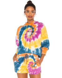 Daydreamer X Revolve Double Trouble Tie Dye Shrunken Hoodie - Blue