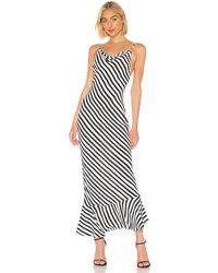 Saloni Платье-комбинация Stella В Цвете Brushstroke Stripes - Black & White. Размер Us 2/ Uk 6 (также В Us 4/ Uk 8). - Многоцветный