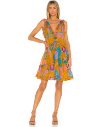Zimmermann Платье Teddy В Цвете Mustard Flora - Оранжевый