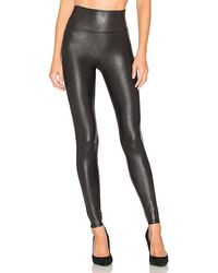 Spanx Faux Leather Quilted Leggings - Black