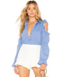 BCBGeneration - Puff Sleeve Button Down In Blue - Lyst